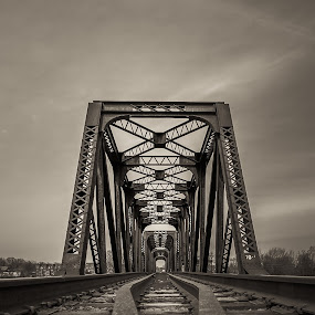 Go Forward! by Éric Senterre - Buildings & Architecture Bridges & Suspended Structures ( b&w, track, train, bridge, steel )