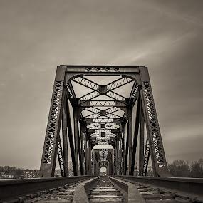 Go Forward! by Éric Senterre - Buildings & Architecture Bridges & Suspended Structures ( b&w, track, train, bridge, steel )