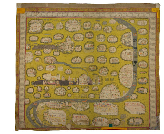 <b>Pichhvai of Vraj Yatra</b> <i>Nathadwara</i>  This pichhvai depicts the pilgrimage landscape of Vraj, the district around Mathura on the banks of the River Yamuna, and includes the sacred sites associated with Krishna's boyhood and the discovery of the Shrinathji image.  It shows the route for the religious procession or Vraj Yatra which pilgrims undertake each year lasting several weeks.