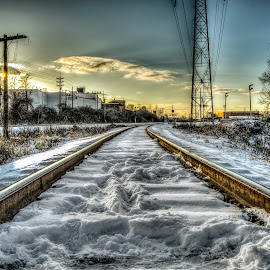 The Rails HDR by Eric Witt - Transportation Railway Tracks ( train tracks, couds, sky, hdr, rails, bushes, sunset, snow, trees, train, sun, golden hour,  )