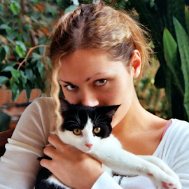 Dannie and Puddin' Pie by Jane Spencer - People Portraits of Women ( cat lover, companionship, friendship, dannie, tuxedo cat )