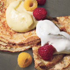 Dessert Pancakes with Custard and Berries
