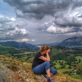 Admiring the View by Stephen Hall - Landscapes Mountains & Hills ( derwentwater, mountains, girl, catbells, view, lake district )
