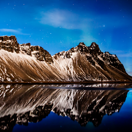 Kambhorn. by Runólfur Hauksson - Landscapes Mountains & Hills ( mirror, iceland, mountain, stars, night )