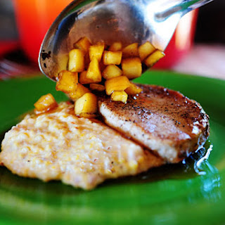 Pork Chops with Apples and Creamy Bacon Cheese Grits