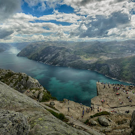 Preikestolen and Lysefjord by Elmo Ensio - Landscapes Mountains & Hills ( preikestolen, lysefjord, mountain, cliff, dramatic, cloud, people, fjord, norway )