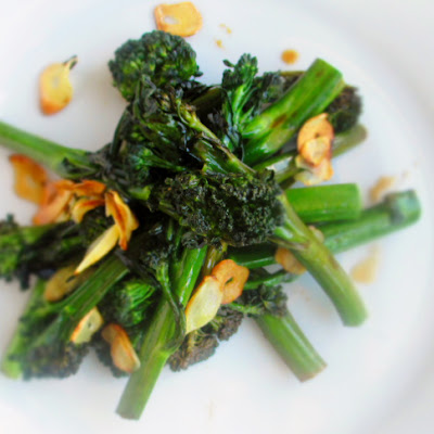 Broccolini With Slivered Garlic, Soy Sauce, And White Wine