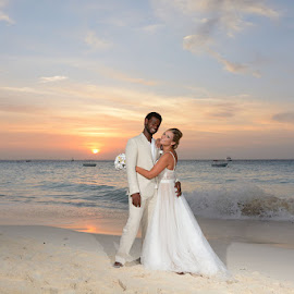 Sea Sunset by Andrew Morgan - Wedding Bride & Groom ( sunset, wedding, sea, bride and groom, beach )