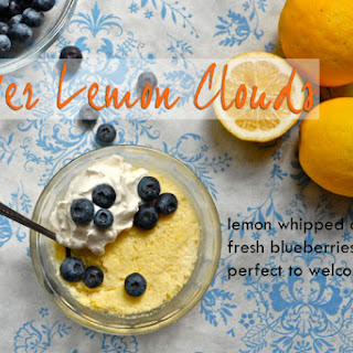 Meyer Lemon Clouds with Lemon Whipped Cream and Fresh Blueberries