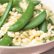 Creamy Corn with Sugar Snap Peas and Scallions