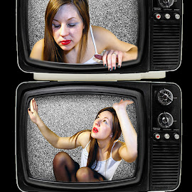 To be on TV by Miss Panic - Digital Art People ( woman, tv, digital art, people,  )