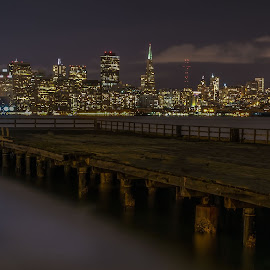 From Old Pier San Francisco by Julio Gonzalez - Buildings & Architecture Office Buildings & Hotels ( old pier, night photo, hdr, treasure island, san francisco )