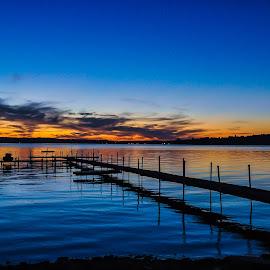 Chautauqua Lake Sunset by Brooks Travis - Landscapes Sunsets & Sunrises ( water, clouds, red sky, jet ski, autumn sky, sunset, shoreline, walkway, lake, chautauqua, dock,  )