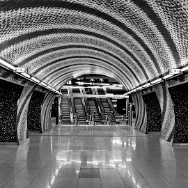 private psychedelic by Péter Mocsonoky - Buildings & Architecture Architectural Detail ( budapest, subway, station, psychedellic, white, underground, black )