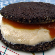 Brownie Ice-Cream Sandwiches with Caramel Sauce