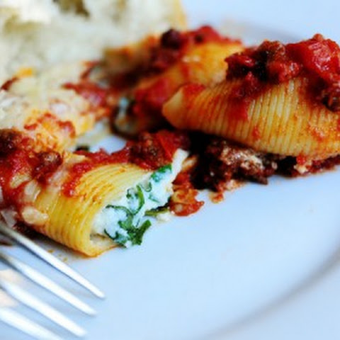 Three Cheese-Stuffed Shells with Meaty Tomato Sauce