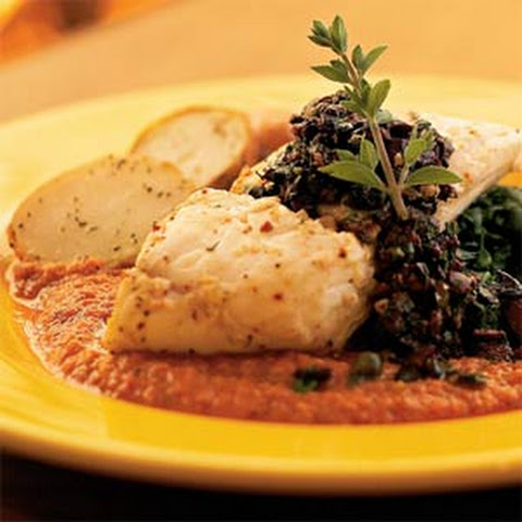 Roasted Halibut with Romesco Sauce and Olive Relish