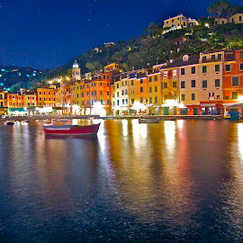 Portofino by Night II by Felice Bellini - City,  Street & Park  Neighborhoods ( europe, portofino, italy )