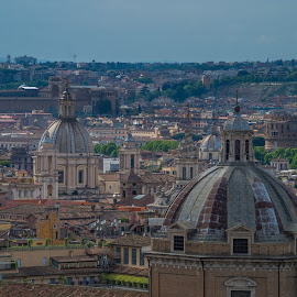 Romes Domes by Sean Heatley - City,  Street & Park  Skylines ( skyline, church, rome, buildings, dome, travel, domes, italy, cross )