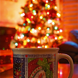 Christmas 2014 by Richard Timothy Pyo - Artistic Objects Cups, Plates & Utensils ( cup, fire place, christmas decoration, indoor, christmas lights, christmas, chrisma tree, table, chair, chocolate, winter, snow, hot, snowman )