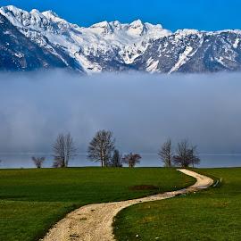Road to the mountains by Gregor Skoberne - Landscapes Mountains & Hills ( hills, mountains, nature, snow, road, places, landscapes, spring )