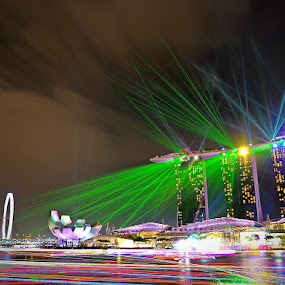 The laser show by Barry Allan - City,  Street & Park  Night ( mbs, marina bay sands, laser, singapore, marina bay )