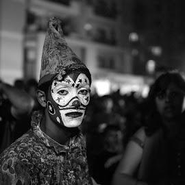 The mask hides nothing by Ashwin Shah - City,  Street & Park  Amusement Parks ( sadness, clown, sad, street photography )
