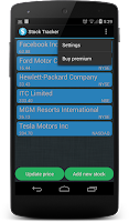 Screenshot of Stock Tracker