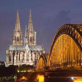 Cologne 1 by Horizon Photo - City,  Street & Park  Vistas ( cologne, night, cathedral, germany, bridge )