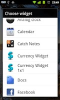 Screenshot of Currency Widget