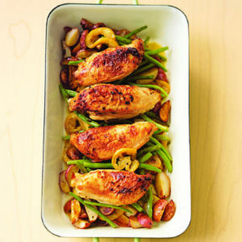 Pan-Roasted Chicken with Lemon-Garlic Green Beans