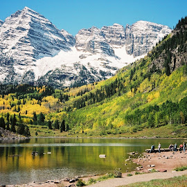 Maroon Bells by Brian Pfaltzgraff - Landscapes Mountains & Hills ( mountains, fall colors, rocky mountains, colorado, landscapes, fall, color, colorful, nature )