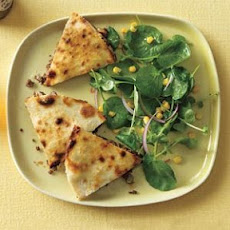 Beef Quesadillas With Watercress and Corn Salad
