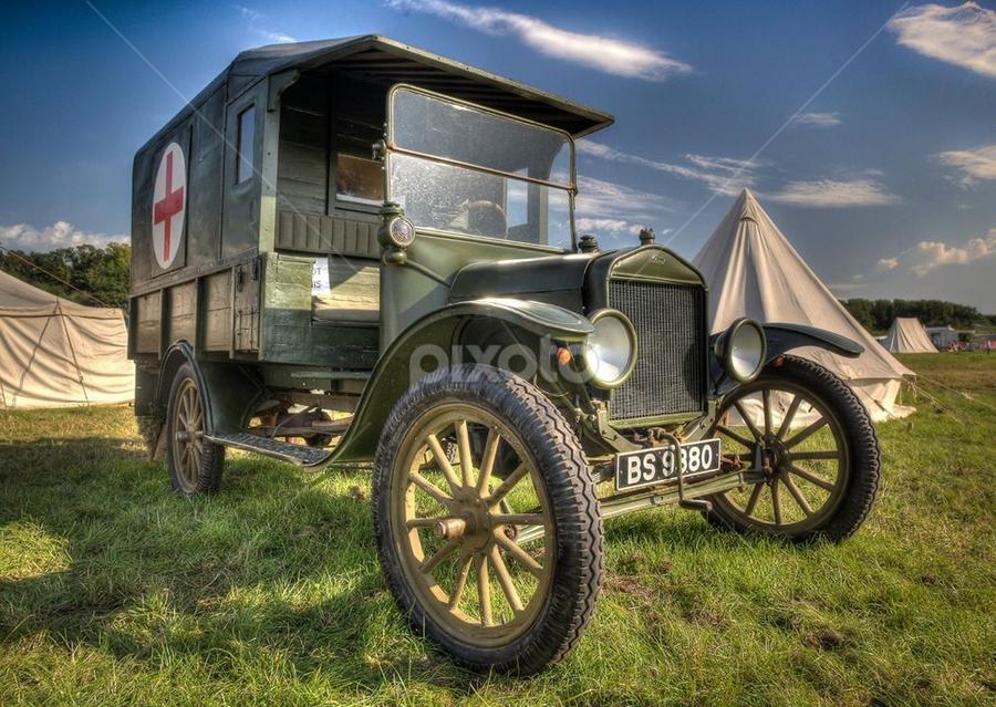 by John Walton - Transportation Automobiles ( ww1, red cross, ford model t, war )