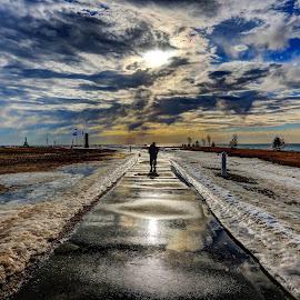 Spring Melt by Anna-Lee Nemchek Cappaert - City,  Street & Park  City Parks ( ice, snow, reflections, sunshine, puddle, morning, spring, melt )