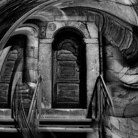 Illusion... by Dragana Vojinovic - Digital Art Abstract ( abstract, black and white, digital art, door )