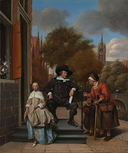 RIJKS: Jan Havicksz. Steen: Adolf and Catharina Croeser, Known as 'The Burgomaster of Delft and his Daughter' 1655