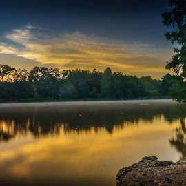 Emmarentia morning  by Peter Schoeman - Landscapes Sunsets & Sunrises ( water, long exposure, dflowers )