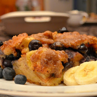 Overnight Blueberry French Toast Bake With Struesel Topping