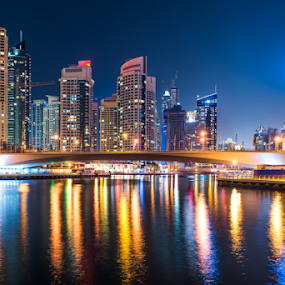 Dubai marina by Aamir Munir - City,  Street & Park  Night ( lights, dubai, buildings, dubai marina, lake, marina )