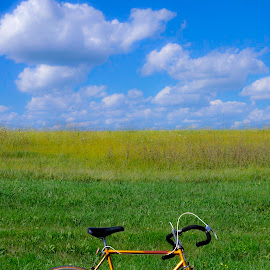My Bicycle by Christine May - Transportation Bicycles ( green field, blue sky, blue, green, transportation, photography, bicycle )