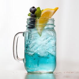 Blue Mason Jar - Centered by Jim DeMicco - Food & Drink Alcohol & Drinks ( blue, drink, mason jar, blueberries, lemon )