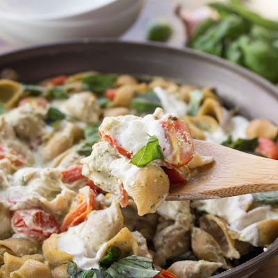 Creamy Cauliflower Pesto Shells with Burrata