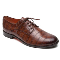 Santoni Crocodile Effect Lace Up CROC SHOE