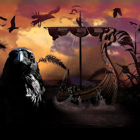 Viking Invasion by Jamie Myers - Digital Art Abstract ( shore, fantasy, raven, seashore, vikings, invasion, ravens )