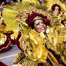 Samba Dancers at Carnival  by Samy St Clair - People Street & Candids ( excitement, dancing, latin american and hispanic ethnicity, beauty, party, school of samba parade, feather, multi colored, parade, traditional culture, samba (brazilian), maroon, action, gold, cheerful, dancer, sao paulo, samba dancing, music festival, carnival, beautiful, happiness, fun, women, sambadrome, brazil, red, female, burgandy, costume, sport club corinthians paulista, samba school, celebration, traditional festival, competition )