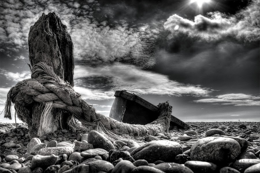 Beached by Pete Tee - Black & White Landscapes ( post, hdr, rope, black and white, devon, beach, boat, sidmouth )