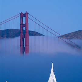 Bridge and Boat on the Bay by Joan Rankin Hayes - City,  Street & Park  Vistas ( fog, bridge, golden gate, travel, san francisco )