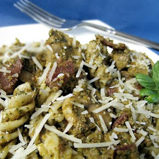 Bacon and Mushroom Penne With Sun-Dried Tomato Pesto