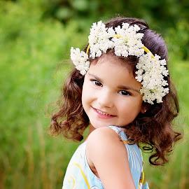 Flirt by Darya Morreale - Babies & Children Child Portraits ( girl, tiara, grass, blue dress, flower )